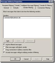 Загрузка / выгрузка списка фильтруемых отправителей вExchange2003